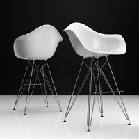 3D eames dar bar plastic chairs model