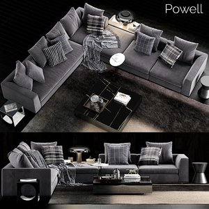 3D minotti powell sofa model
