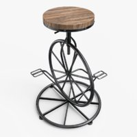3D bicycle wheel bar stool model