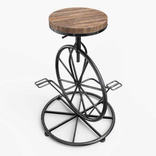 3D bicycle wheel bar stool model