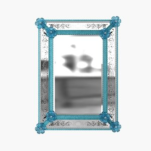mirror murano venetian blue 3D