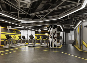 fitness gym room 3D