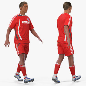 soccer football player rigged 3D model