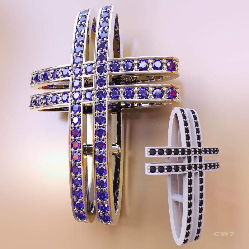 jewelry golden cross stones 3D model