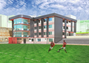 football administrative building 3D model