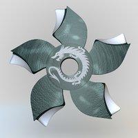 ninja estrellas arma 3 3D model