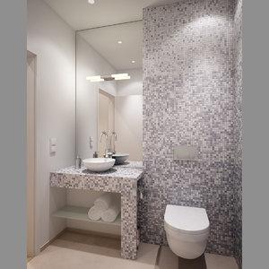small bathroom toilet interior scene 3D model