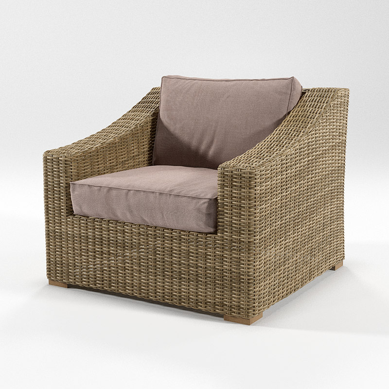 3D rattan chair armchair model