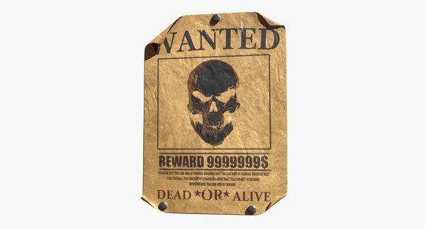 wanted poster editable 3D model