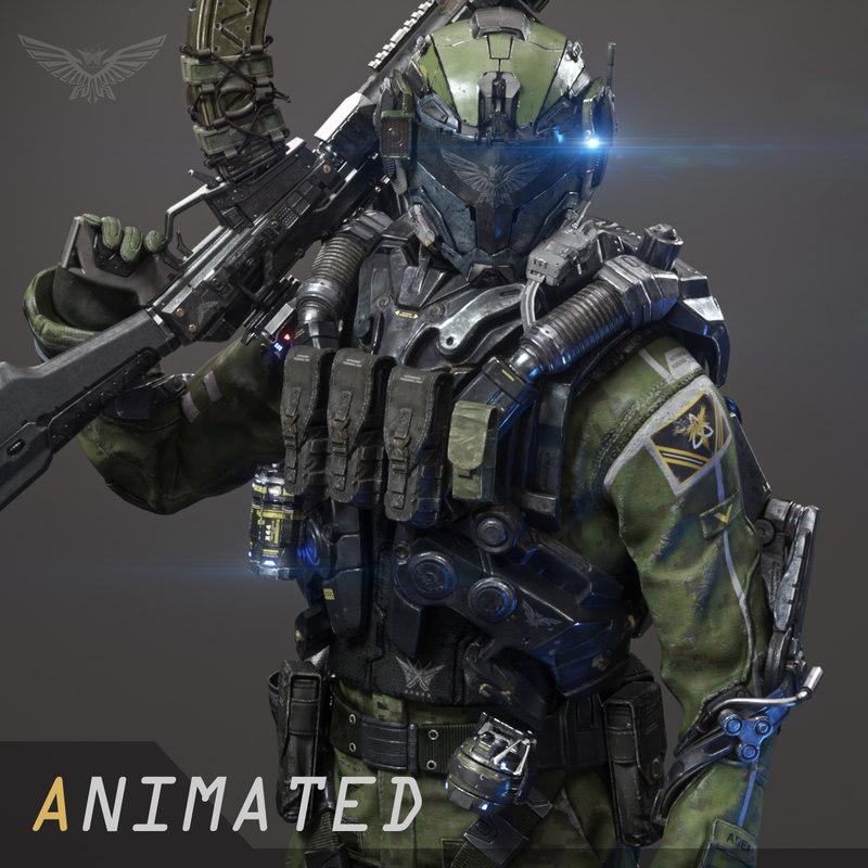 3D scifi - assault soldier model