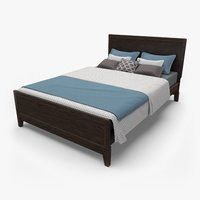 3D rustic queen size bed model