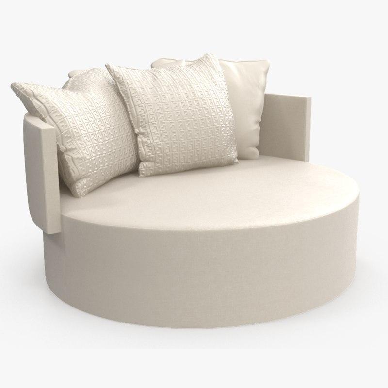 3D model sofa fendi efea ottoman