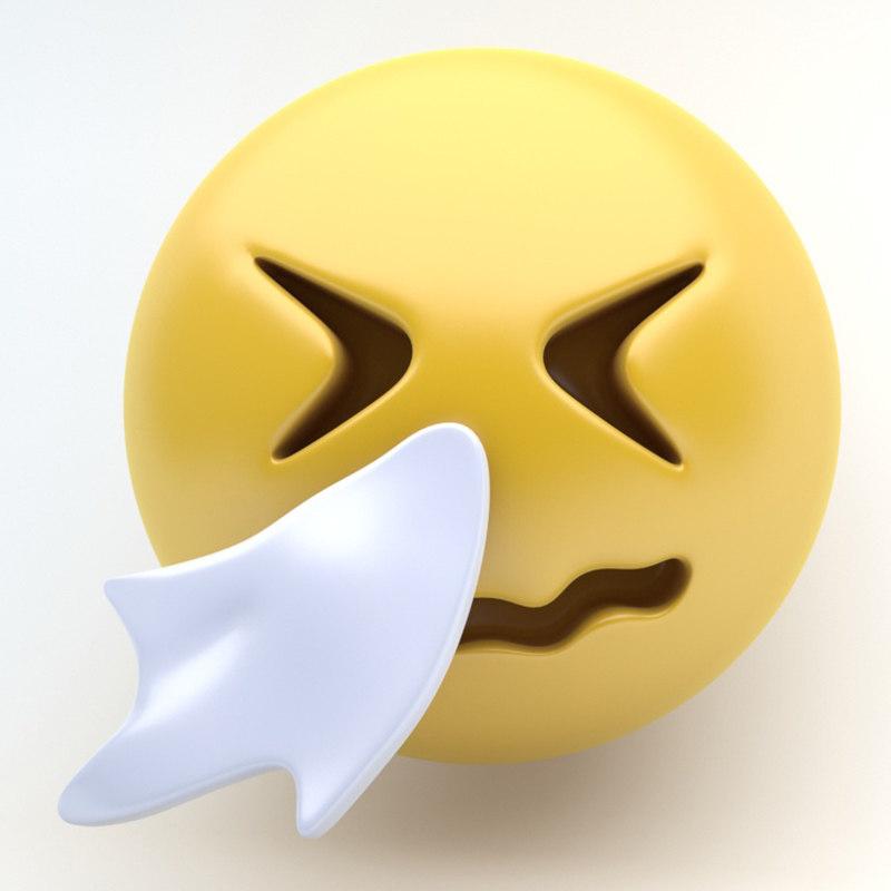 emoji blowing 3D model
