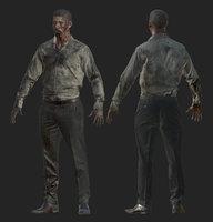 zombie man woman 3D model