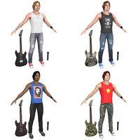 3D model pack rockstar guitar microphone
