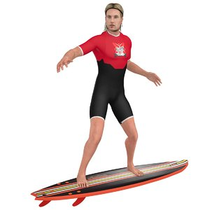 3D model rigged surfer