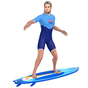 rigged surfer model