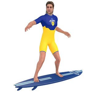 3D rigged surfer