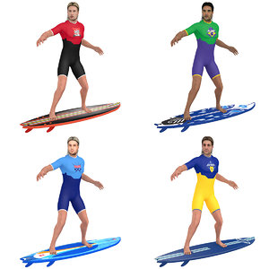 pack rigged surfer 3D model