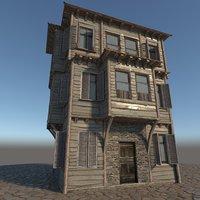 3D old wooden house model