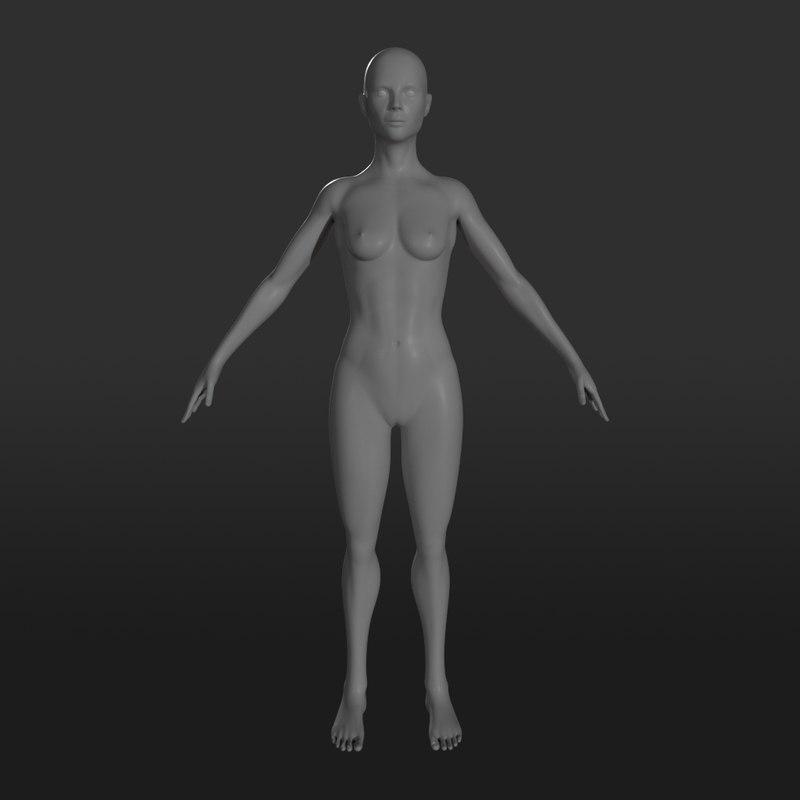 female character base mesh 3D