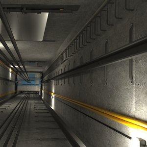 3D elevator shaft scene model