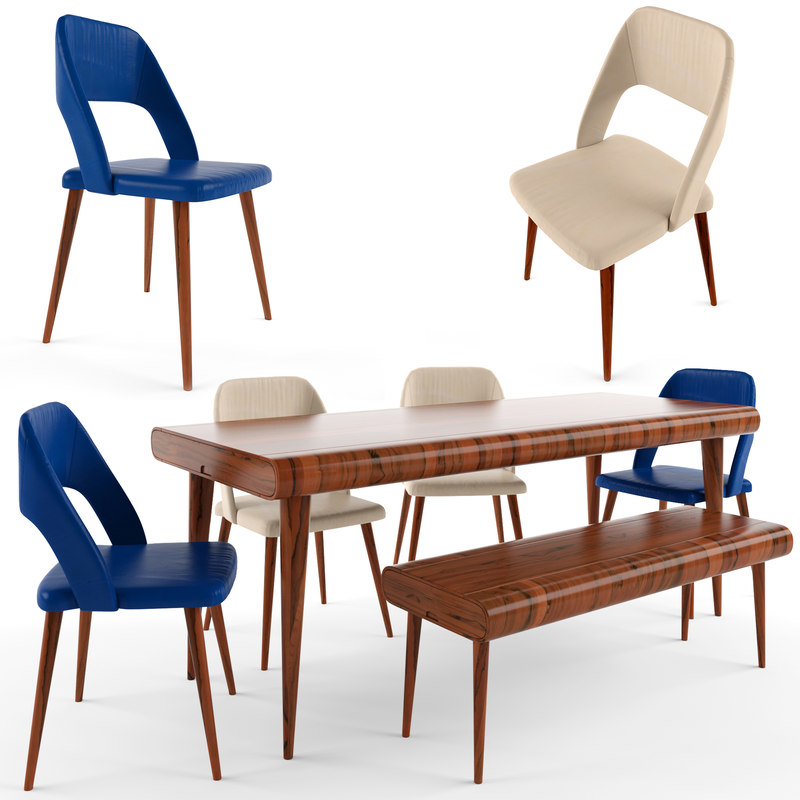 table chair set 4 3D