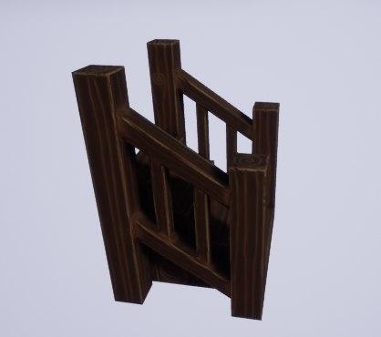 wooden stylized steps 3D