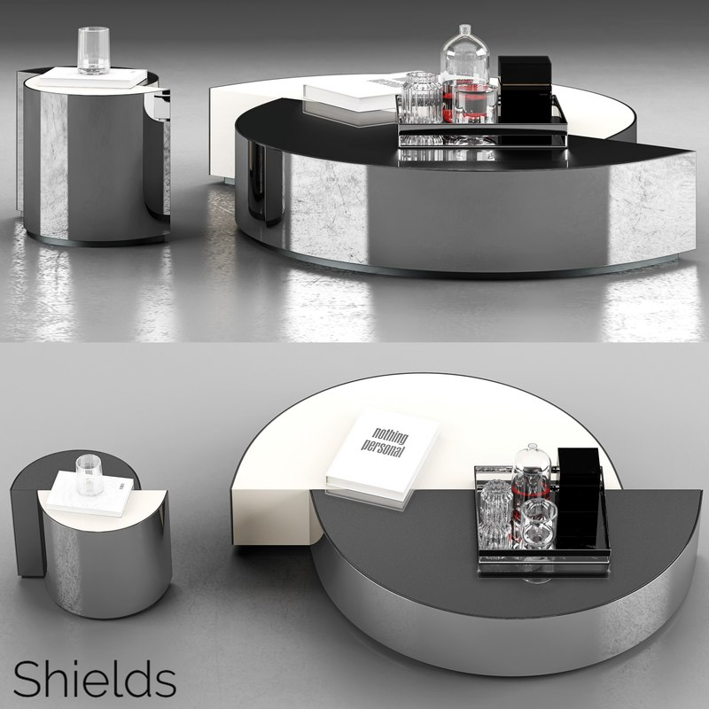 3D minotti shields coffee tables
