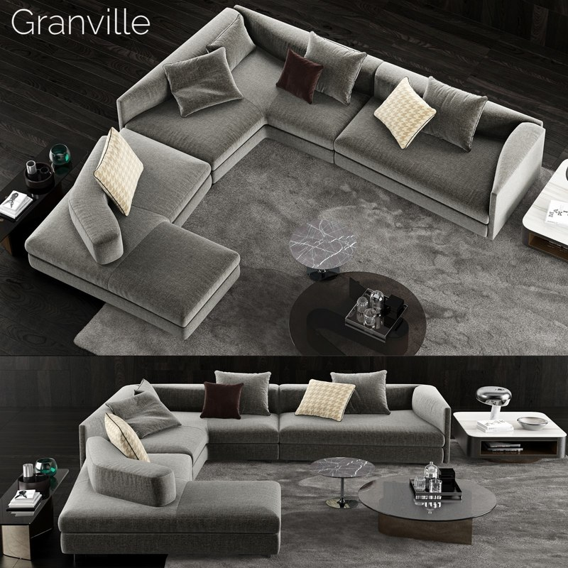 3D minotti granville sofa 2 model