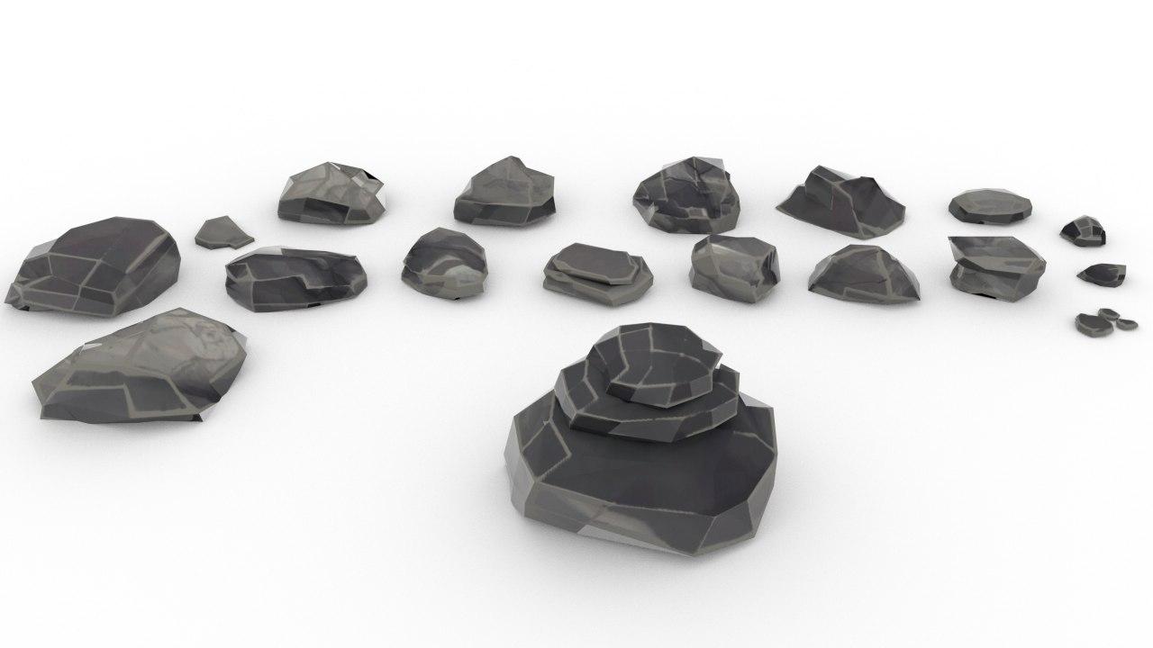 3D model rock pack cartoon stone