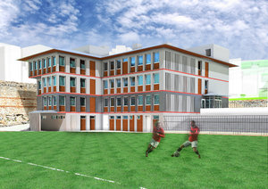 3D football administrative building facade model