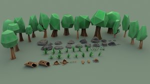 tree forest cartoon pack 3D