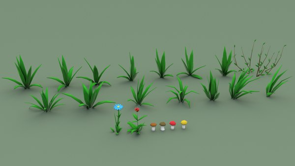 3D model cartoon grass pack flower