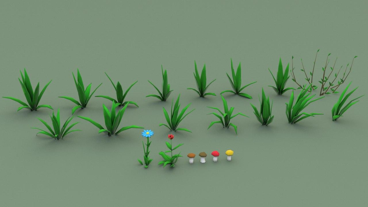 3D model cartoon grass pack flower