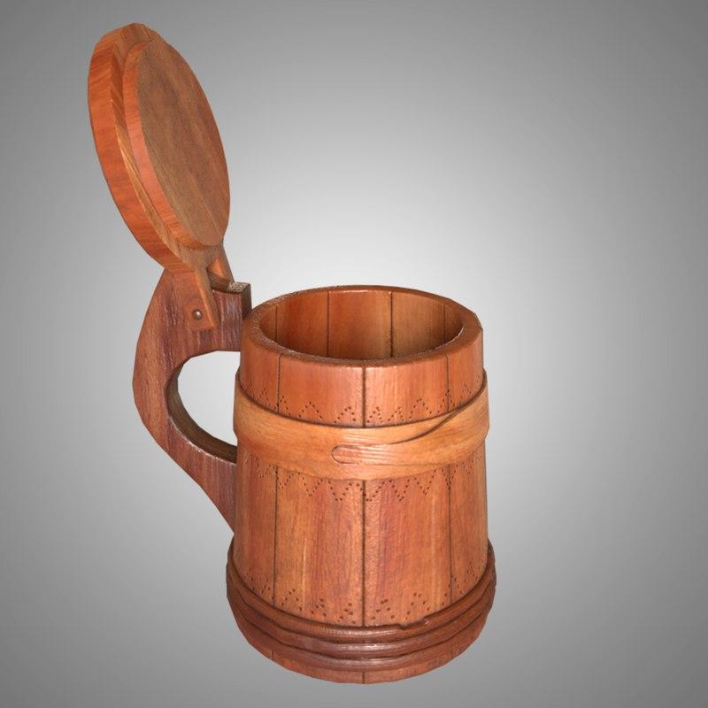 realistic old wood tankard model