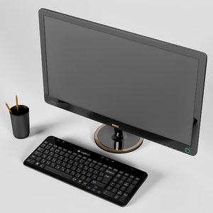 monitor benq vw2420h keyboard 3D model