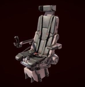 3D scifi pilot seat