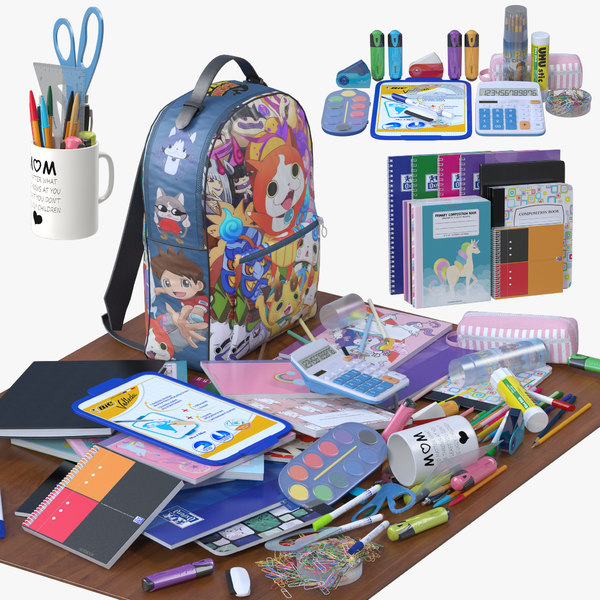 3D school supplies model
