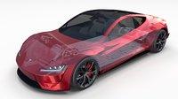 3D tesla roadster 2020 interior model