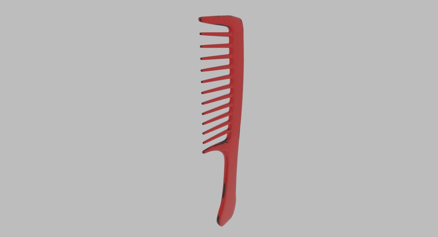 red transparent plastic comb 3D model