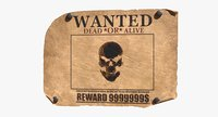 3D model wanted poster v4 editable