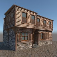 old wooden house model