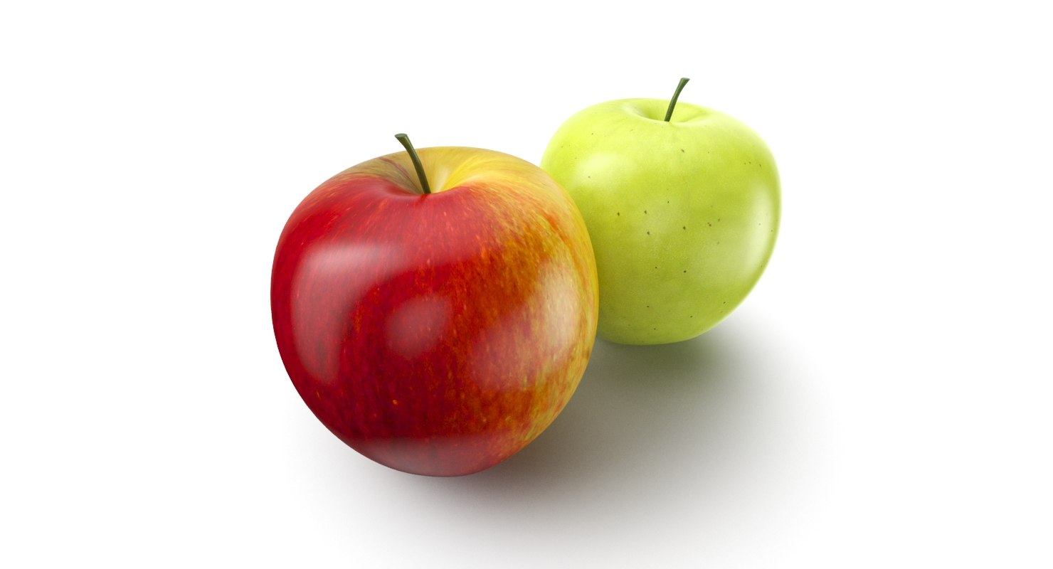 apple fruit red green 3D model