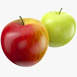 apple fruit red green 3D model