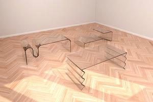 set glass tables 3D model
