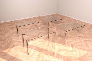 3D set glass tables model