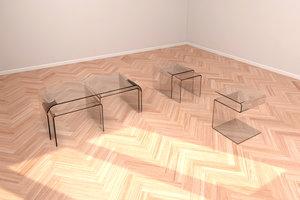 3D model set glass tables
