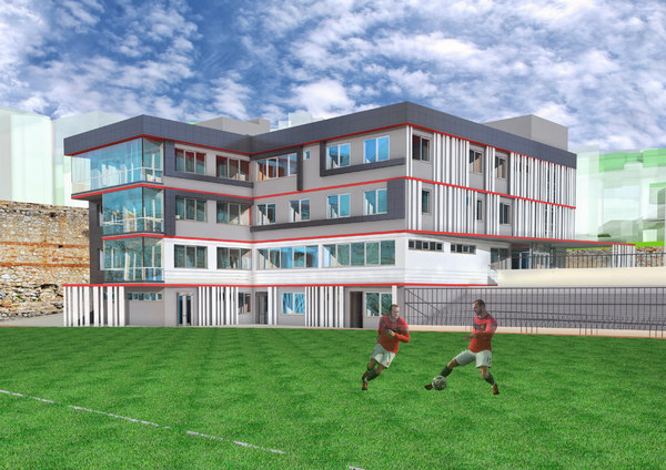 3D football administrative building facade model