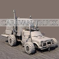 3D post apocalyptic caravan truck model
